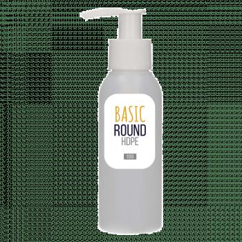 100 ml bottle Basic Round HDPE natural + Dispenser pump PP white
