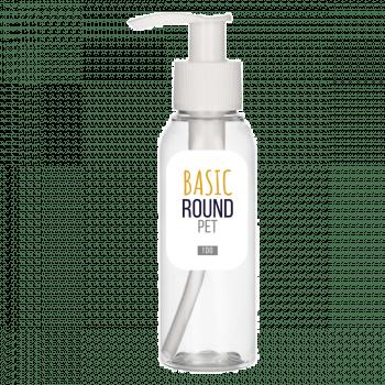 100 ml bottle Basic Round PET transparent 24.410 + Dispenserpump PP white