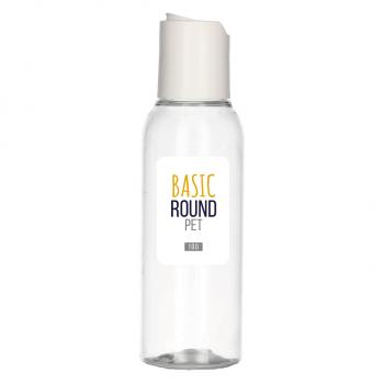 100 ml bottle Basic Round PET transparent 24.410 + Disc-top PP white 24.410