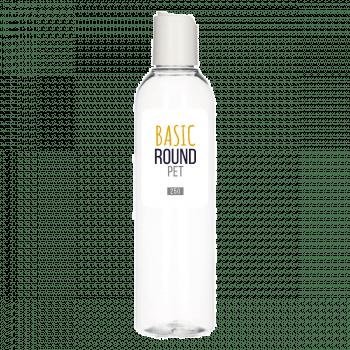 250 ml bottle Basic Round PET transparent 24.410 + Disc-top PP white