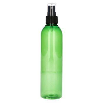 250 ml fles Basic Round PET groen + spraypomp zwart