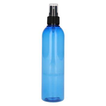 250 ml fles Basic Round PET blauw + spraypomp zwart