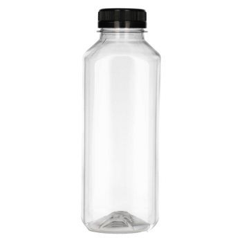 500 ml fles Juice Square PET transparent + garantiedop zwart