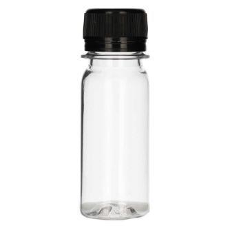 50 ml fles Juice mini shot PET transparent + garantiedop zwart